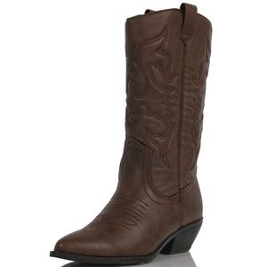 Shoes - Dark Tan cowboy knee high pull on boot